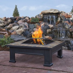 Square Fire Pit Table - Outdoor Fire Place - Wood Burning - Breckenridge STYLE