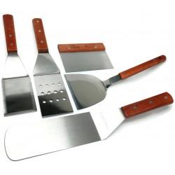 5 piece - BBQ Grill Set Tools - Griddle Kit - Spatula s, Turner, Chopper/Scraper