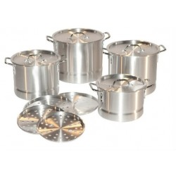 Set of 4 Aluminum Stock Pots W/ Steamer (8 QT, 12 QT, 16 QT, 20 QT)