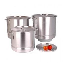 Set of 3 Aluminum Stock Pots W/ Steamer (64 QT, 80 QT, 100 QT)